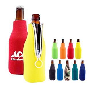 Neoprene Zipper Beer Bottle Cooler Sleeve