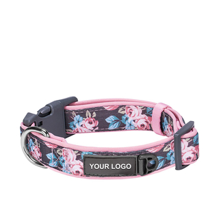 Rose Flower Print Neoprene Padded Dog Collar